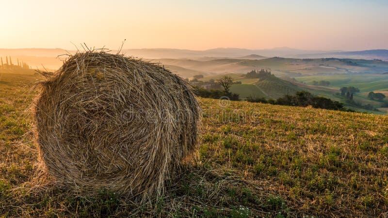 Ballen Heu auf Feldern eines Sommers bei Sonnenaufgang in Toskana stockfoto