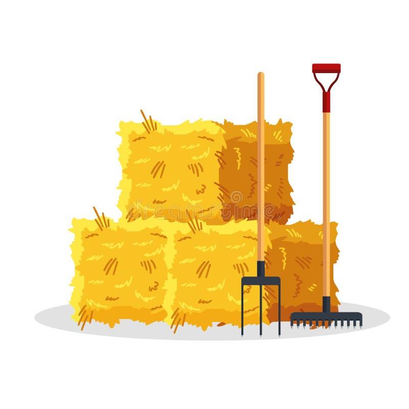 Ballen Heu lokalisiert auf weißem Hintergrund Ebene trocknete Heuschober mit den Gabeln und Rührstange und bewirtschaftete haymow lizenzfreie abbildung
