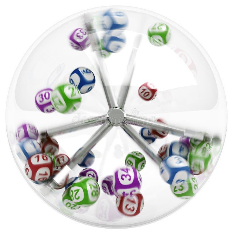 Ballen in loterijmachine vector illustratie