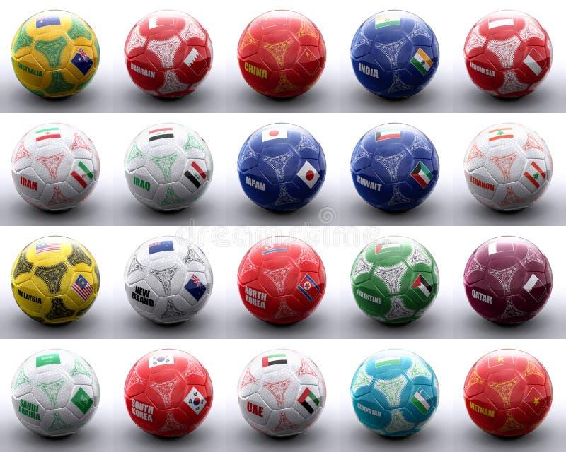 Ballen met Aziatische en oceanian vlaggen van naties vector illustratie