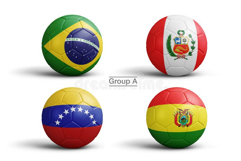 Ballen van vlaggen van Copa Amerika 2019 stock illustratie