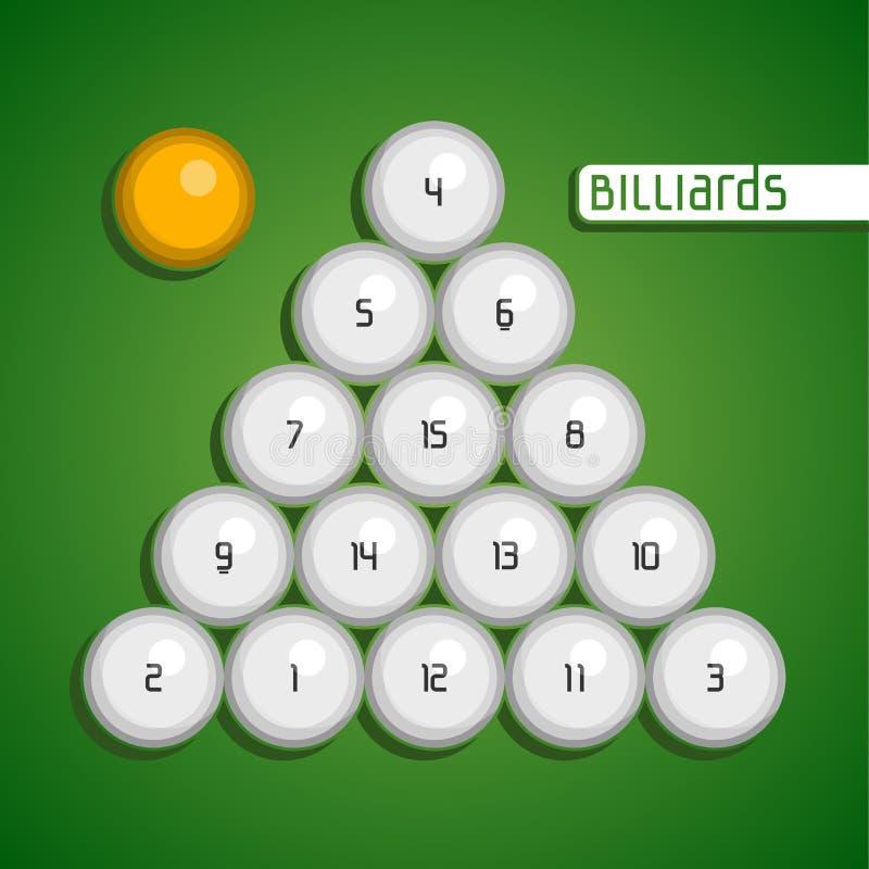 Ballen voor biljart vector illustratie