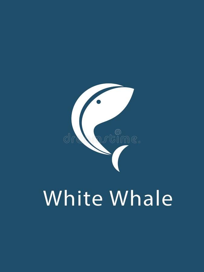 Ballena blanca en fondo azul stock de ilustración