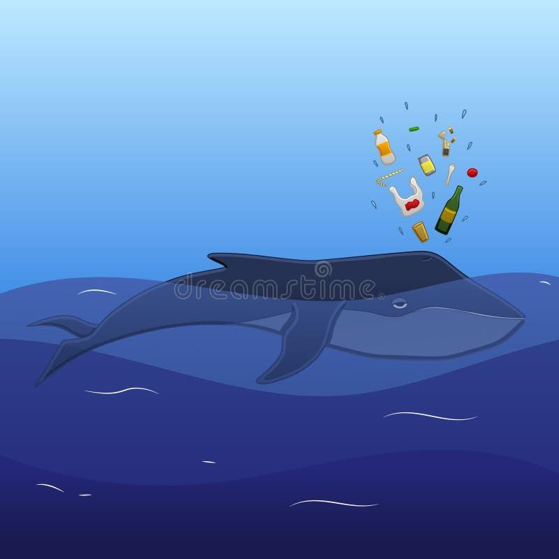 Ballena con el canalón de la basura ilustración del vector