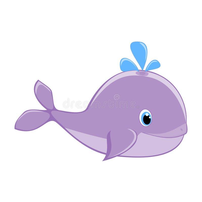 Ballena del bebé con el mar feliz a de la ballena de la muchacha de la historieta del ejemplo del vector del chapoteo del agua de stock de ilustración