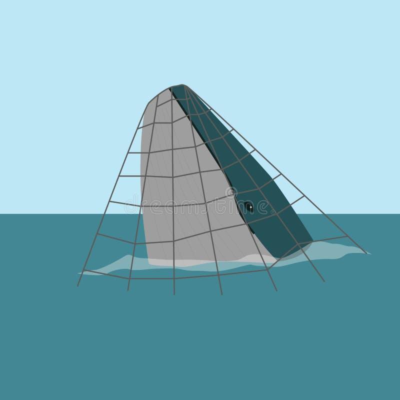 Ballena en una trampa del mar imagen de archivo libre de regalías