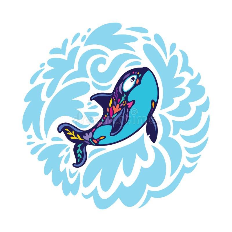 Ballena floral de la orca en el círculo de ondas decorativas Ilustraci?n del vector libre illustration