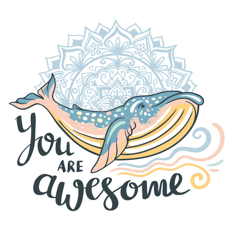 Ballena linda Ballena impresionante en fondo marino con las ondas y la mandala adentro ilustración del vector