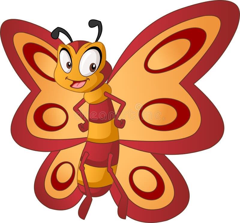 Ballena linda de la historieta Ejemplo del vector del animal feliz divertido Mariposa linda de la historieta Ejemplo del vector d libre illustration