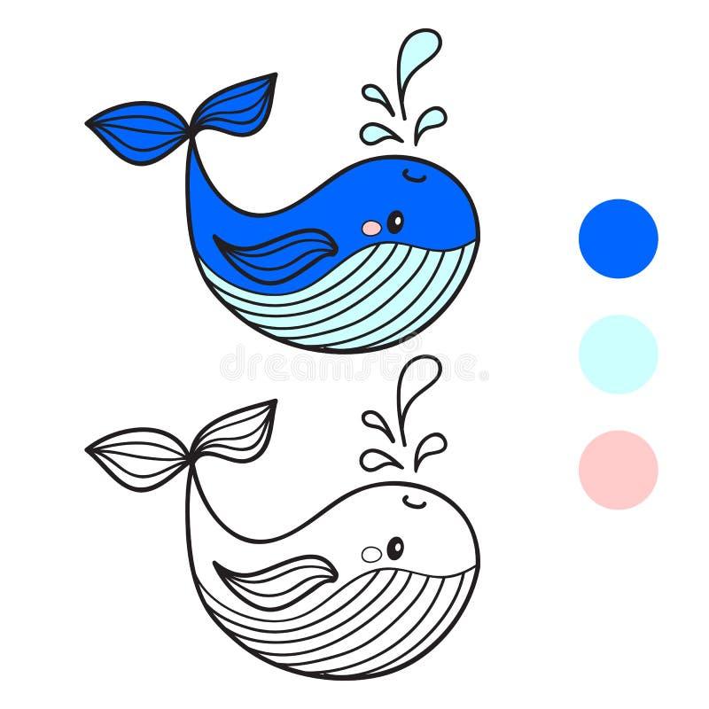 Ballena Página del libro de colorear Ilustración del vector de la historieta ilustración del vector