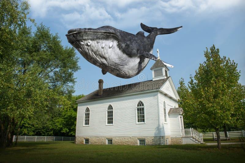 Ballena surrealista del vuelo, iglesia, religión imagenes de archivo