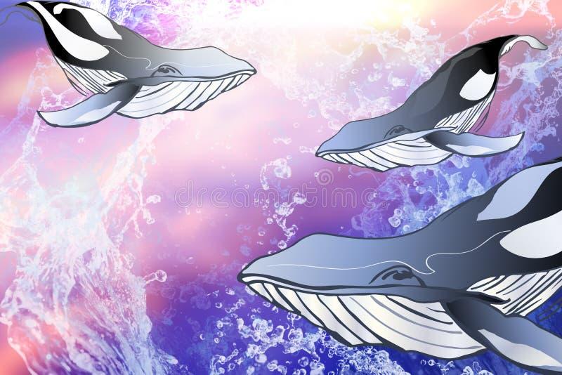 Ballenas de la historieta en un fondo abstracto azul stock de ilustración