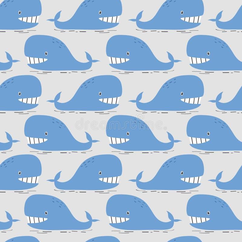 Ballenas felices, modelo incons?til colorido Fondo lindo decorativo con los pescados libre illustration