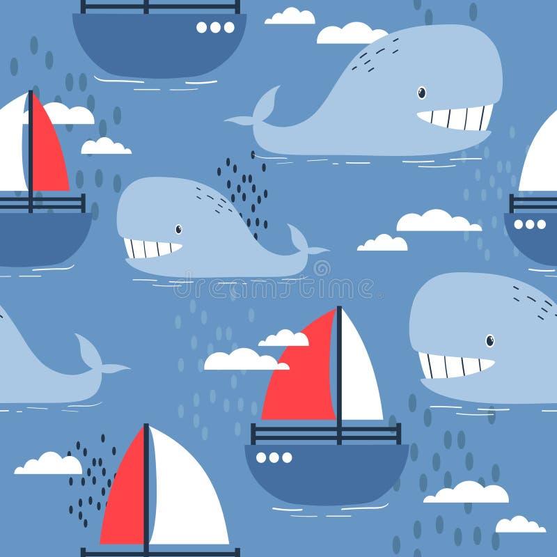 Ballenas y barcos felices, modelo inconsútil marino colorido Fondo lindo decorativo libre illustration