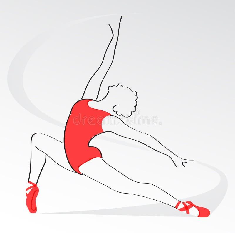 Ballerina στον κόκκινο εμπαθή χορό χορού απεικόνιση αποθεμάτων