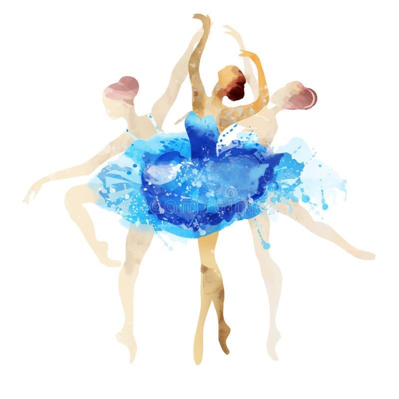 Ballerina στο μπλε διανυσματικό watercolor διανυσματική απεικόνιση