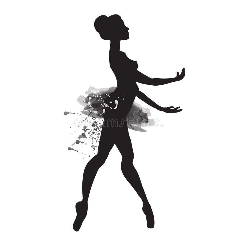 Ballerina στο χορό watercolor διάνυσμα απεικόνιση αποθεμάτων