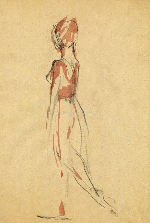 Ballerina, 11 zeichnend stock abbildung