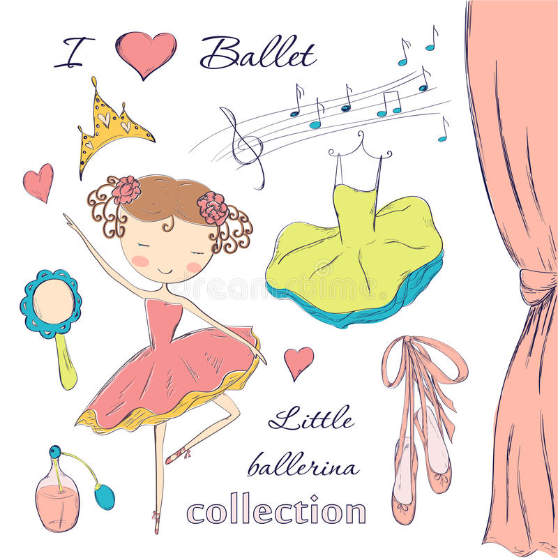 Ballerina and accessories vector illustration