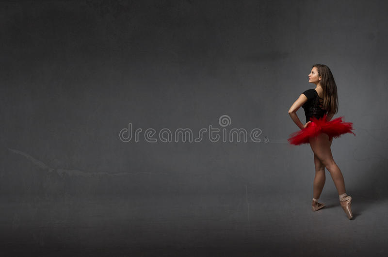 Ballerina in achterkantmening stock afbeelding