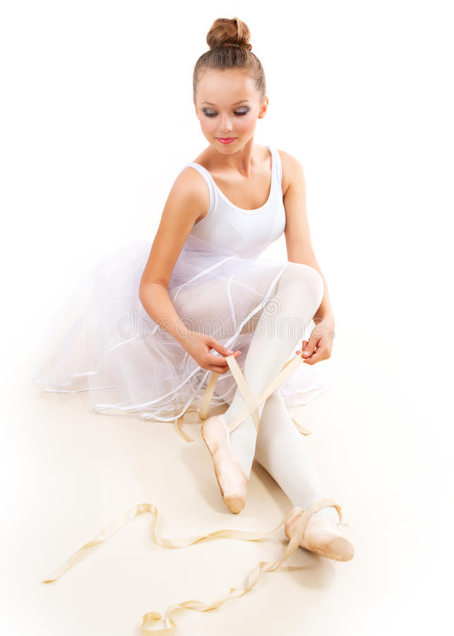 Ballerina. Ballet Dancer. Ballerina. Pretty Ballet Dancer Wearing Pointes. Ballet Shoes stock photo