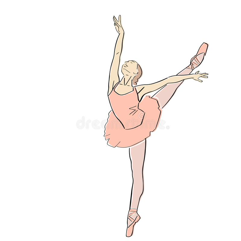 Ballerina in ballet tutu and pointe shoes on her toes. royalty free stock photography