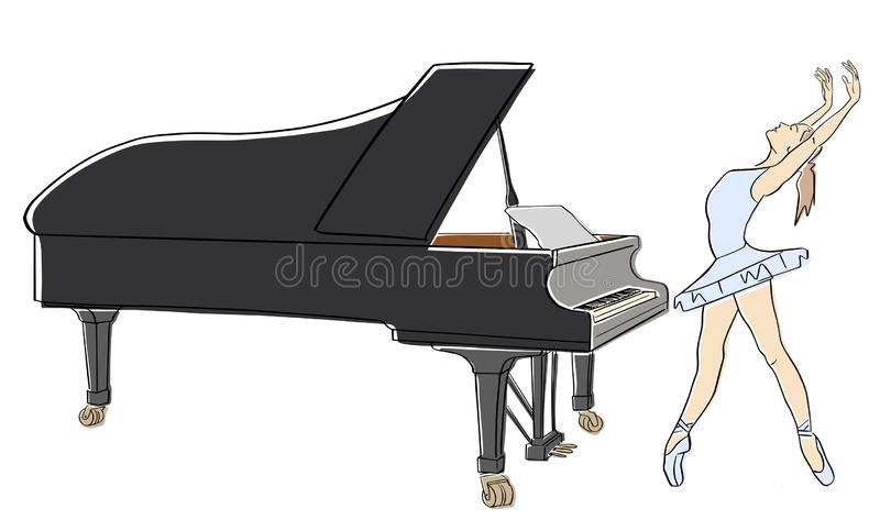 Ballerina in ballet tutu and pointe shoes on her toes dancing next to the grand piano. royalty free stock image