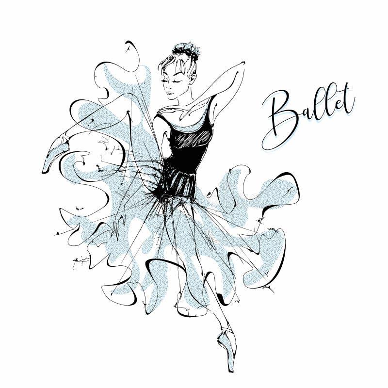 ballerina ballet Wilis Menina de dança em sapatas de Pointe Vetor ilustração stock