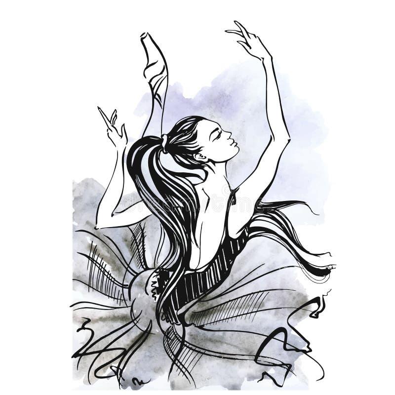 ballerina balletto Ragazza di dancing sulle scarpe di Pointe watercolor Vettore royalty illustrazione gratis