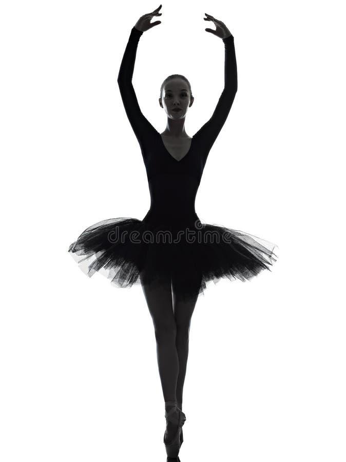 Ballerina-Balletttänzer-Tanzenschattenbild der jungen Frau lizenzfreie stockfotografie