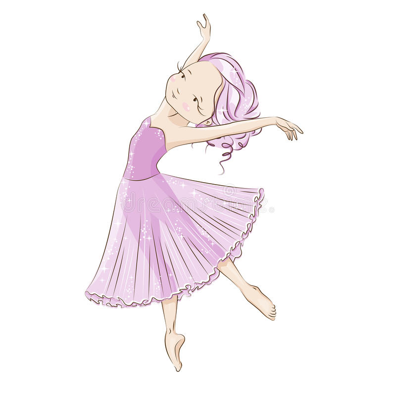 Ballerina. Beautiful ballerina in classical tutu on a white background. Graceful little White Swan. She is dancing in light, beautiful pink dress. Hand drawn stock illustration