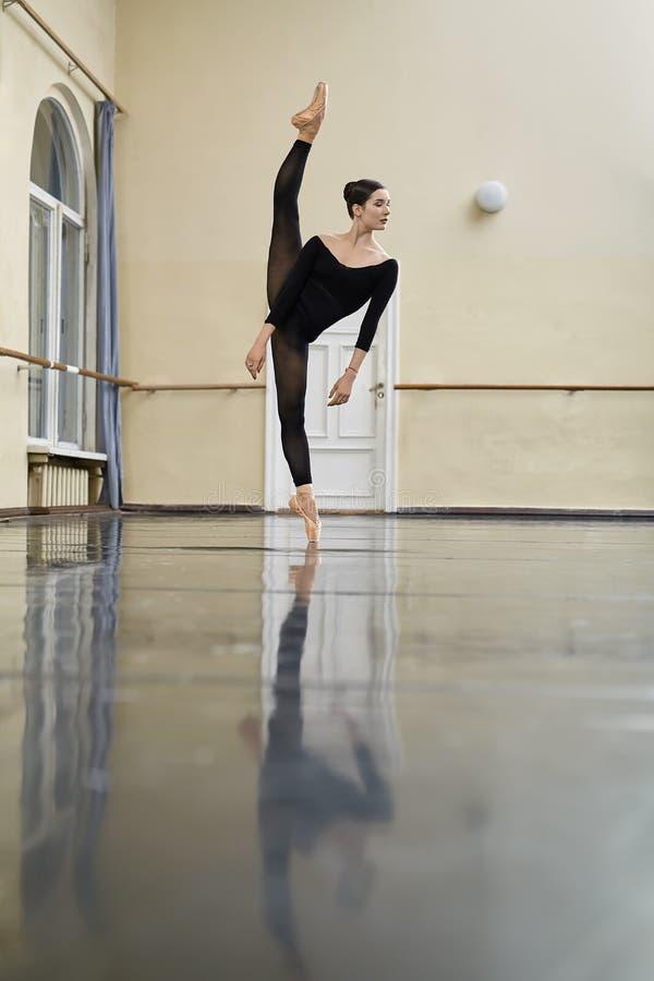 Ballerina che posa nel corridoio di ballo fotografie stock