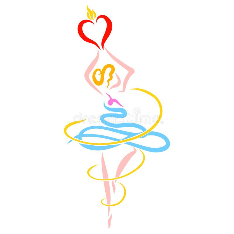 Ballerina circling with hearts in her hands.  royalty free illustration