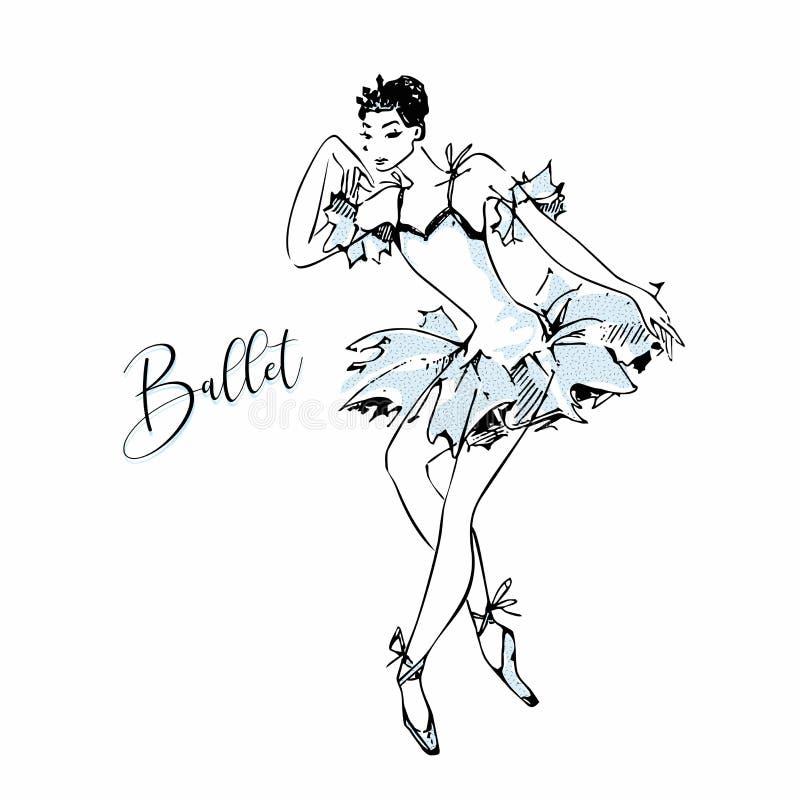 ballerina Cisne branca ballet dança Ilustração do vetor ilustração do vetor