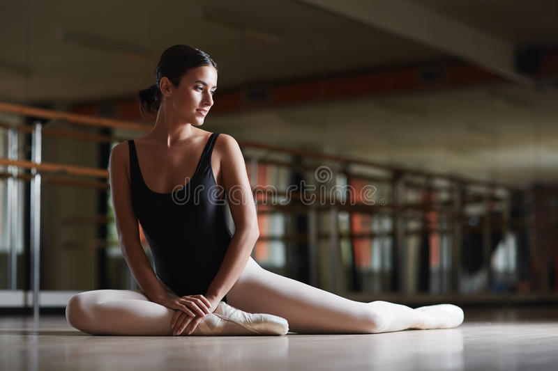 Ballerina in class stock photo