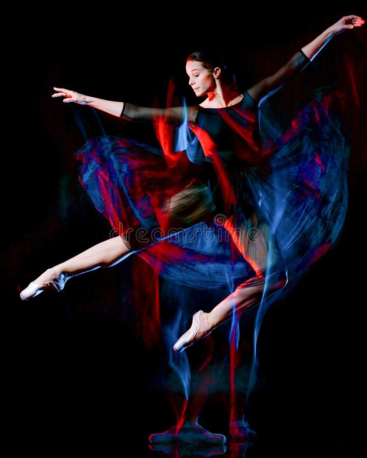 Ballerina classical ballet dancer dancing woman isolated black bacground royalty free stock image