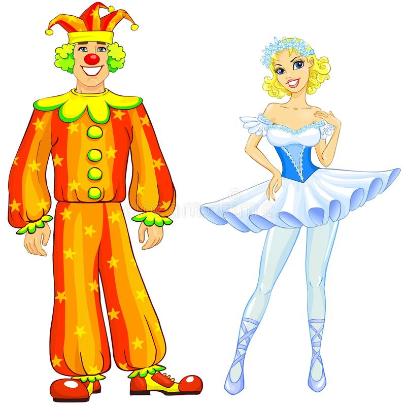 Ballerina and clown couple royalty free illustration