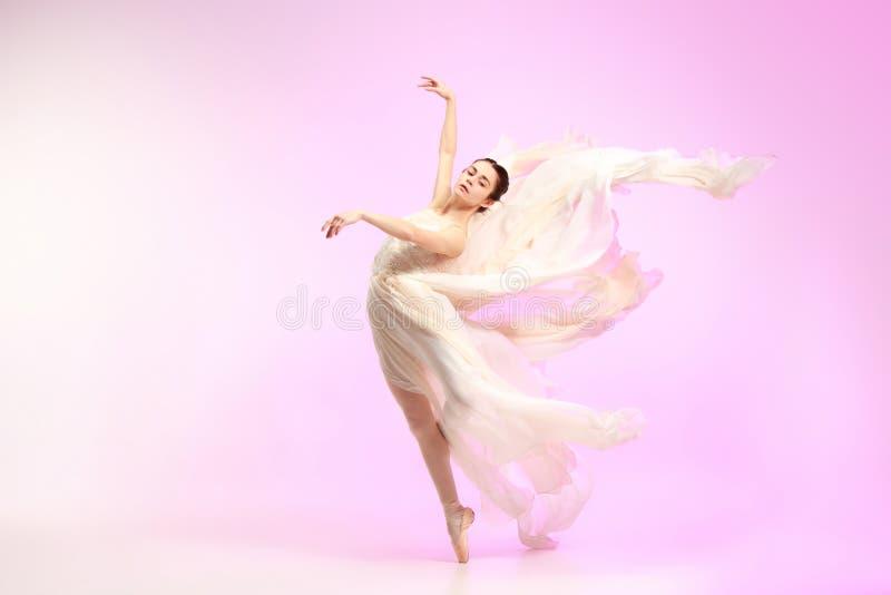 ballerina Dança fêmea graciosa nova do dançarino de bailado sobre o estúdio cor-de-rosa Beleza do bailado clássico fotografia de stock