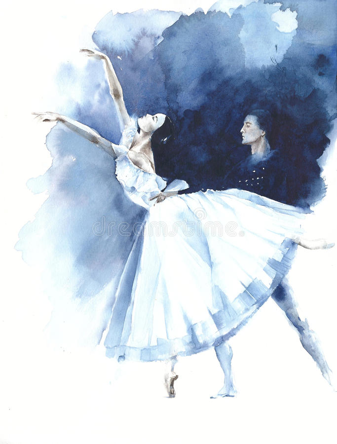Ballerina dance ballet dancer Giselle watercolor painting illustration greeting card royalty free illustration