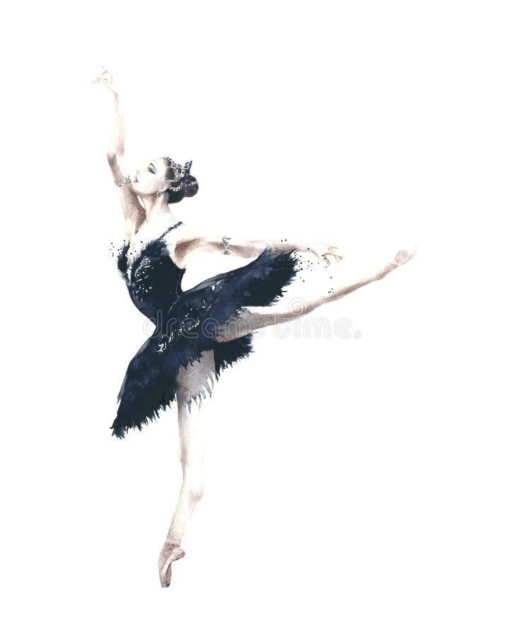 Ballerina dancer Odile black swan swan lake watercolor painting illustration isolated on white background royalty free stock photos