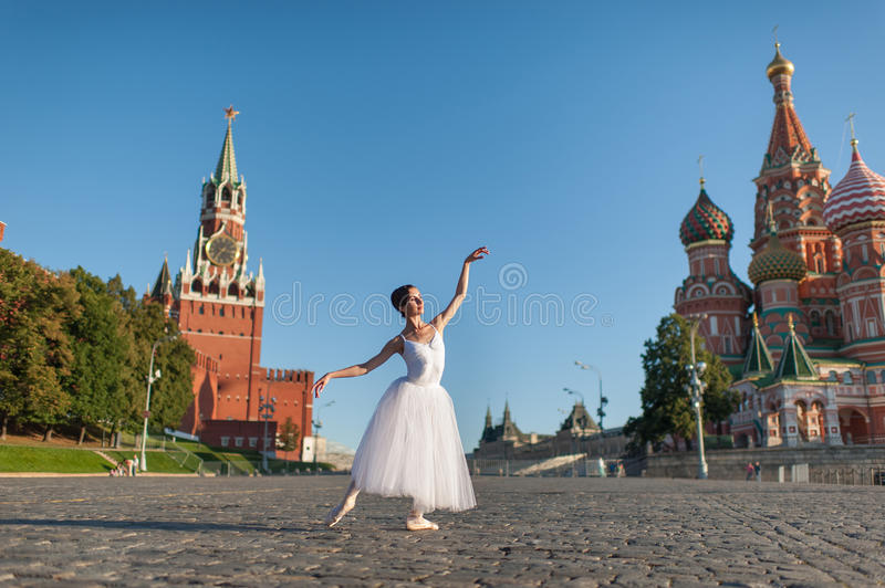 Ballerina dancing in the center of Moscow stock image
