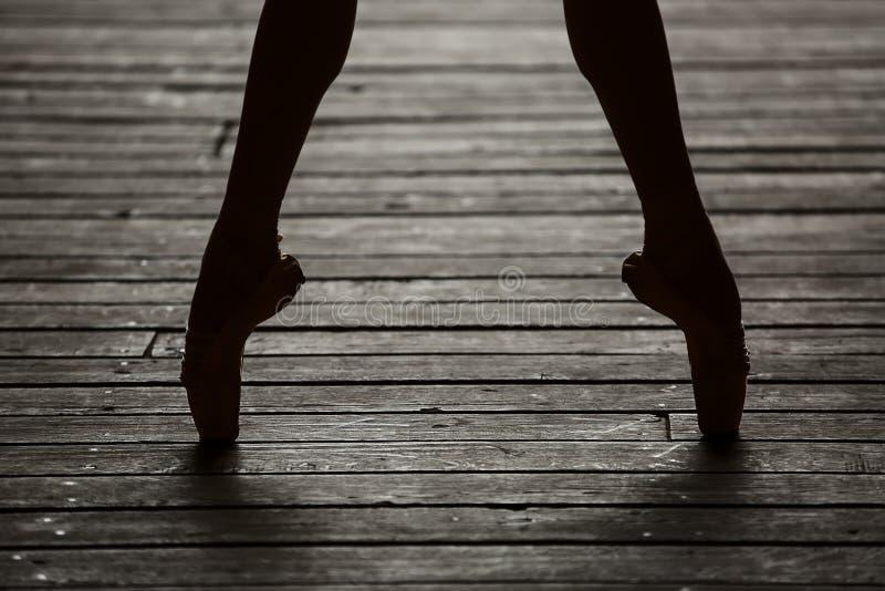 Ballerina dancing feet. Photo of graceful ballerina dancing feet on the floor in backlit stock image