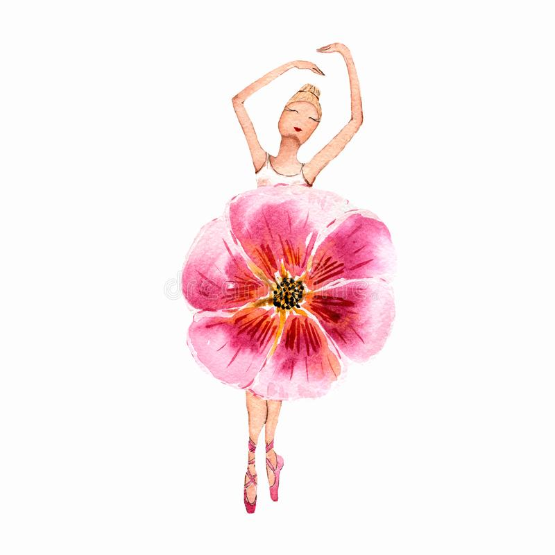 Ballerina dancing girl watercolor painting illustration isolated on white background. Pink flower ballet dress on dancing girl. stock illustration