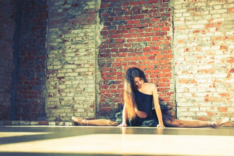 Ballerina dancing indoor, vintage. Healthy lifestyle ballet stock photos