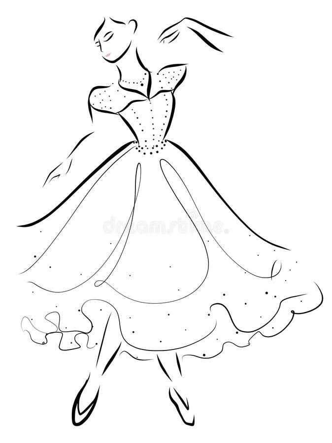 Ballerina Dancing Sparkling stock illustration