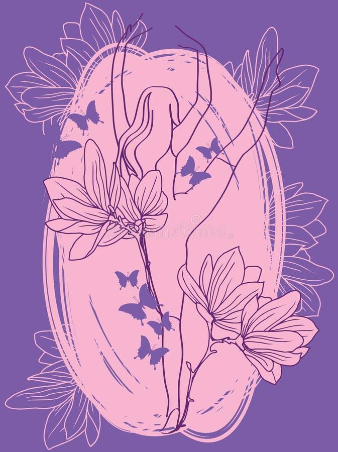 Ballerina in dans met magnoliabloemen en vlinders stock illustratie