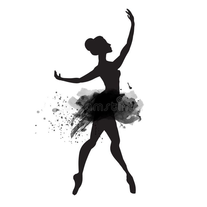 Ballerina in dans Waterverfvector royalty-vrije illustratie