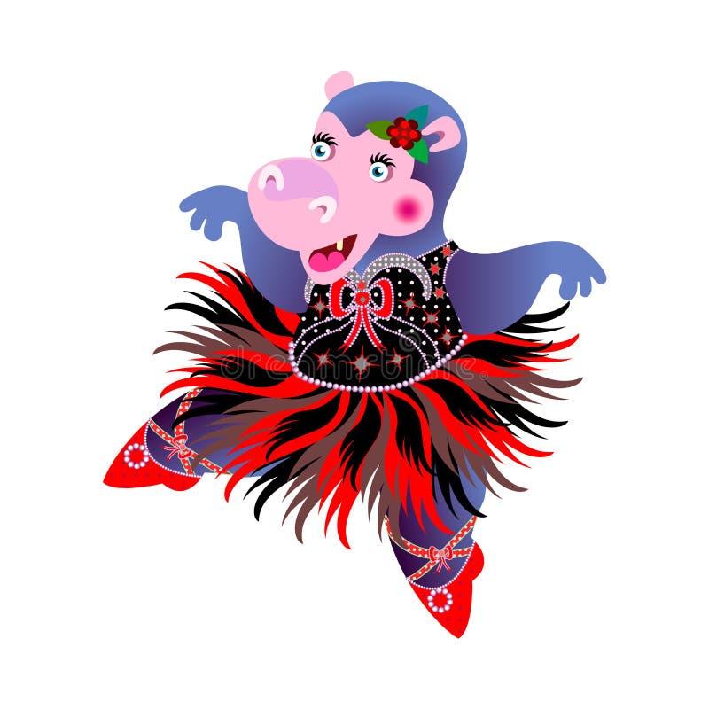 Ballerina dell'ippopotamo illustrazione di stock