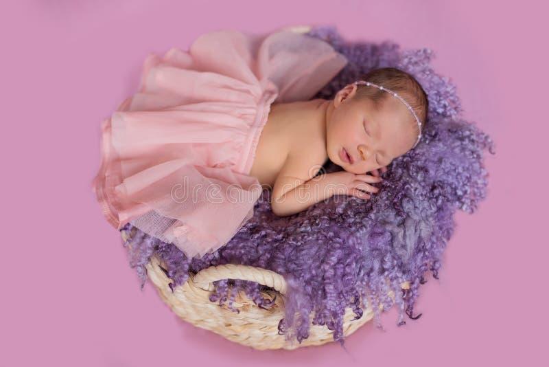 Ballerina della ragazza di neonato in un canestro immagini stock
