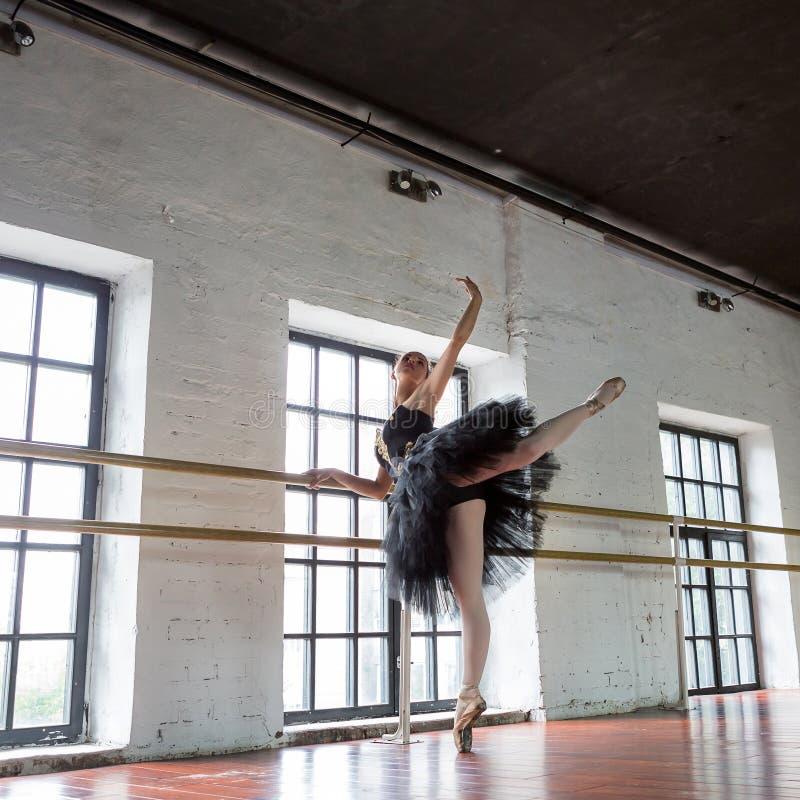 Ballerina di ripetizione nel corridoio Pavimento di legno, finestre molto grandi Bella ballerina nella stanza di ripetizione fotografia stock libera da diritti